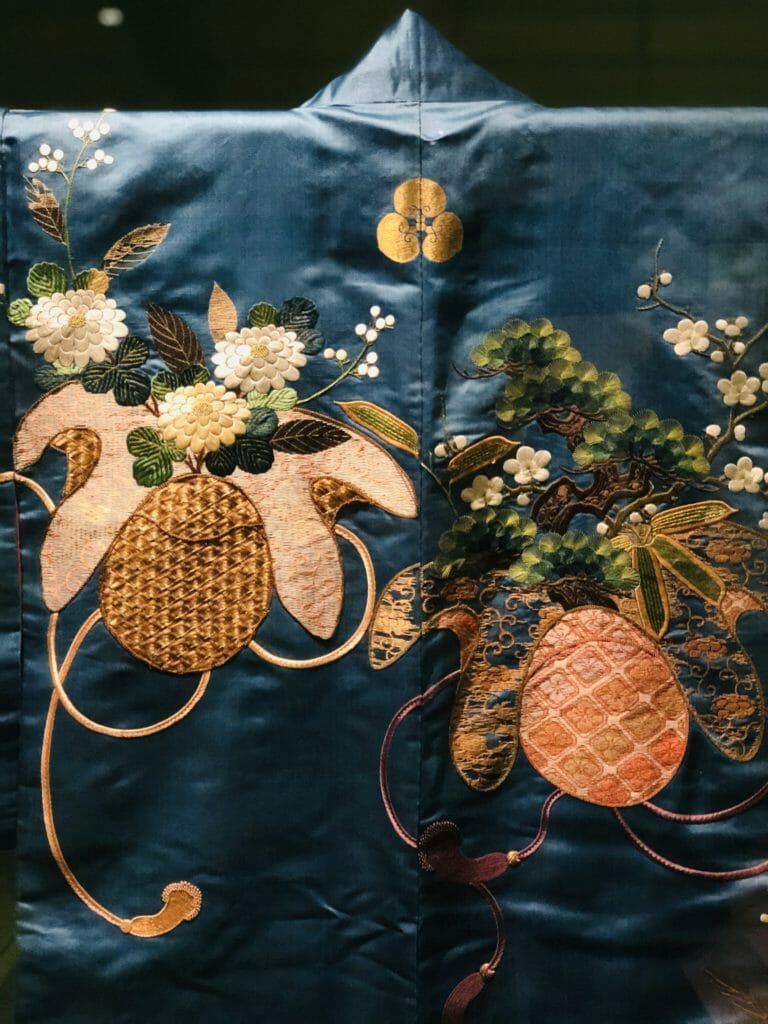 Gold and silver threads were often used as well as decorative silks for embroidery - Kyoto 1800-50