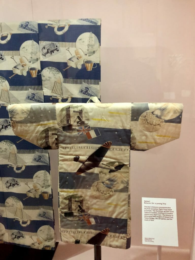 Boys kimono's began to depict modern achievements in the 20th century, this depicts the first flight between Tokyo and London in 1937
