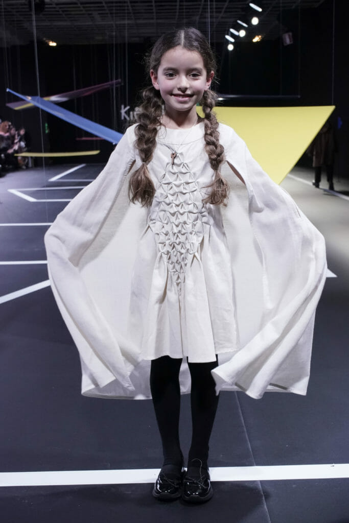 Infantum Victoria at Pitti Bimbo 90 for FW20 with a dress made from new textile Weganool