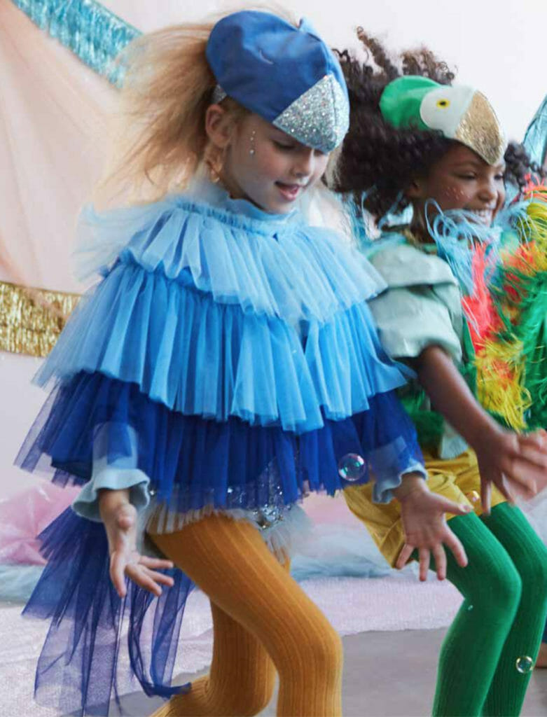 Kids fancy dress fantasies at Meri Meri with bird costumes, or for the nimble threaded, an idea for a tutu skirt!