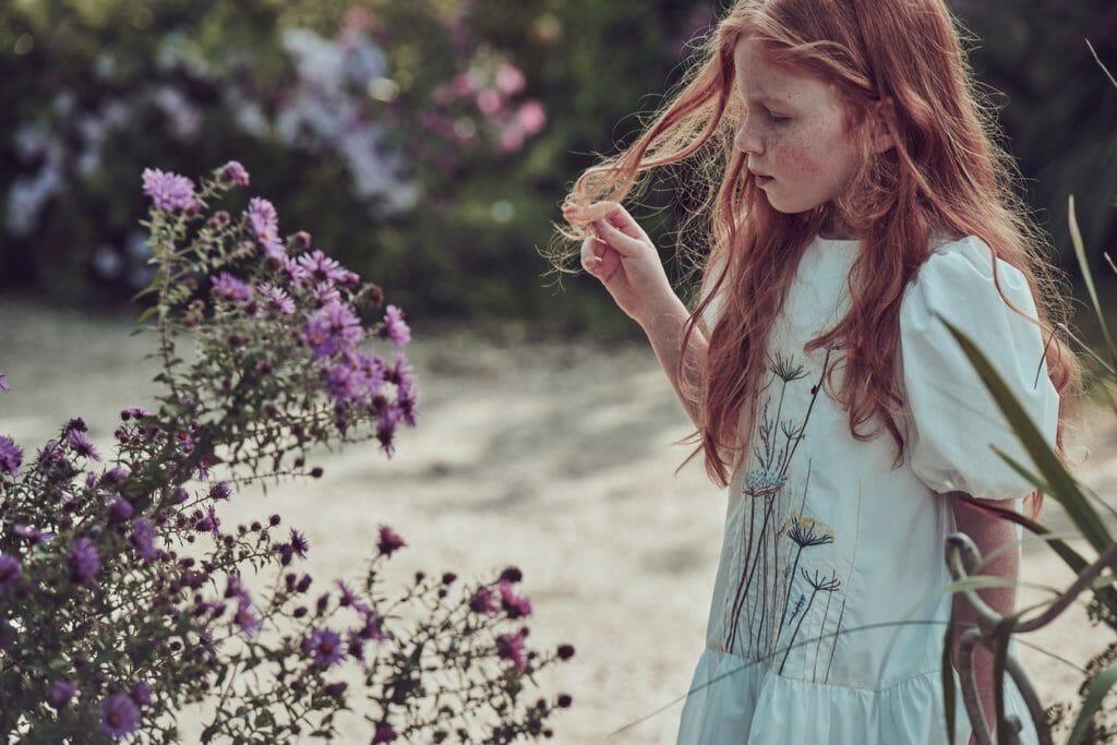 Sweet embroidered garden border dress for Il Gufo's Secret Garden collection