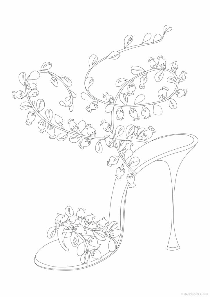 Manolo Blahnik colouring in shoes from a choice of ten styles