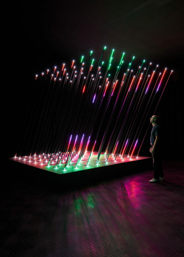 Sound sensitive light installation 'CORE' by 1024 Architecture at The Design Museum