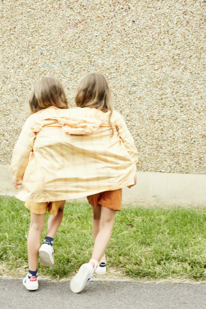 Last of the summer kids fashion shoots with outfits to take into autumn. Coat worn by both by Tiny Cottons, shoes by Veja
