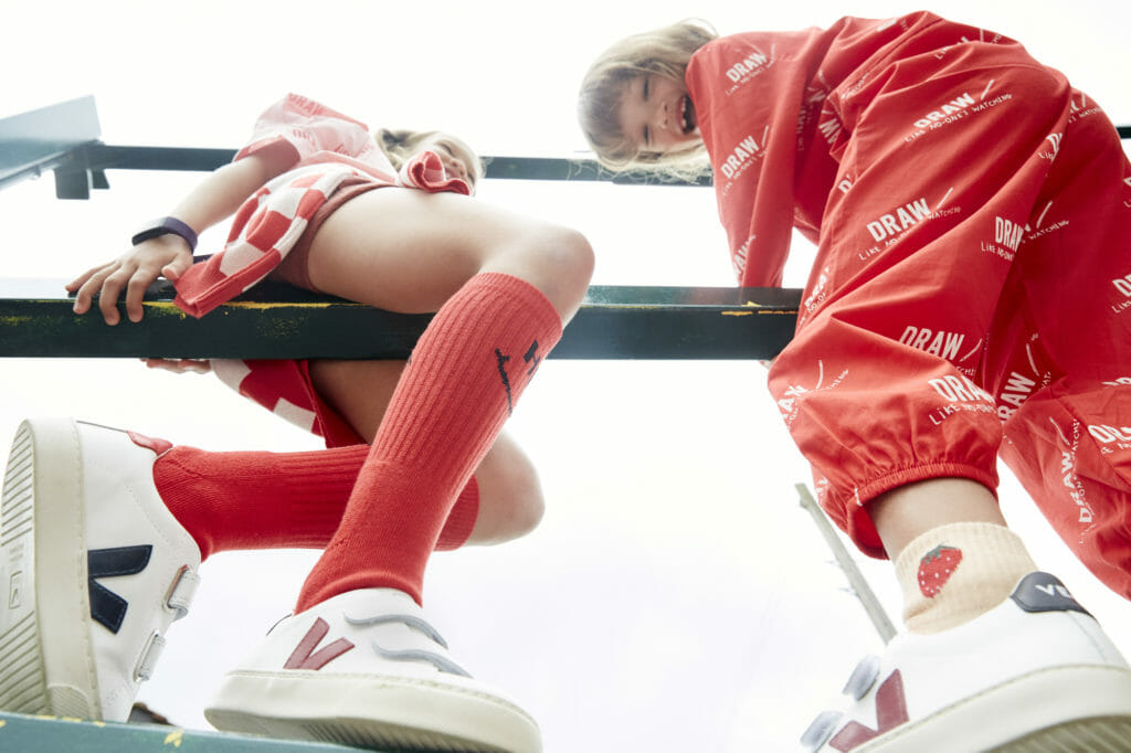 Last of the summer kids fashion shoots with styles to take into autumn, clothing Beau Loves, trainers Veja