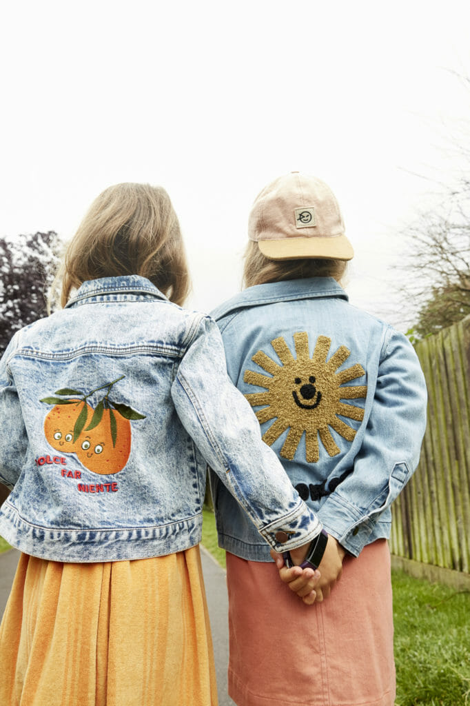 Applique denim rules, Oranges jacket from Tiny Cottons, sun jacket from Wynken