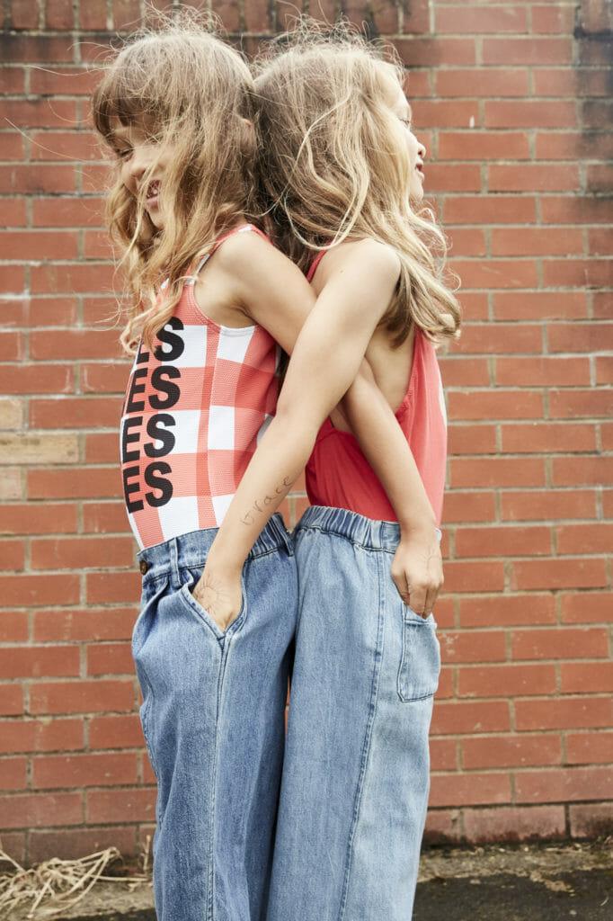 'Loves' costume by Beau Loves. jeans by Wynken, red costume Bon Mot jeans by Wynken