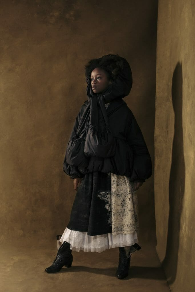 Short padded jacket and monochrome splatter print at Little Creative Factory FW2020