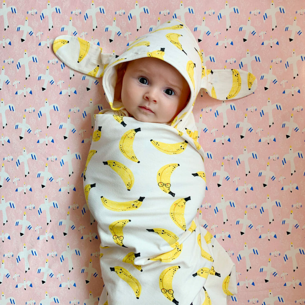 Banana print blanket with hood from Bonnie Mob for summer 2021