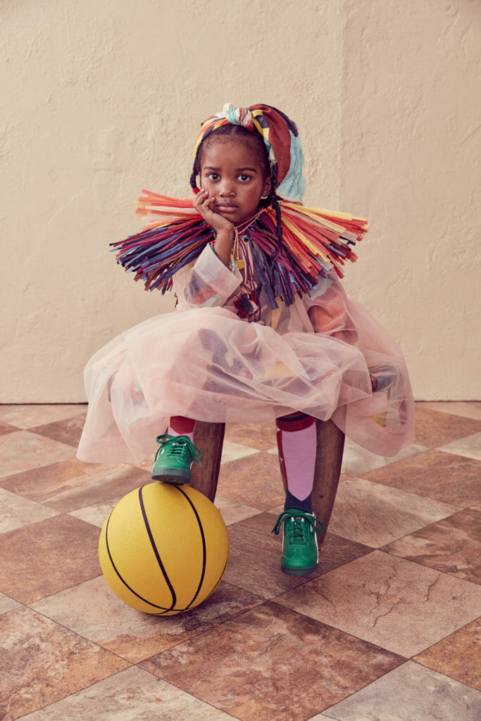 Fantastic raffia collar accessory at Tia Cibana for fall kidswear 2020