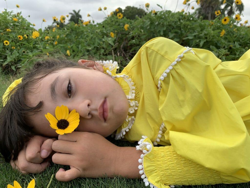 Digital kids fashion week launches Day 1 with Tia Cibani SS21 in stunning sunshine yellow