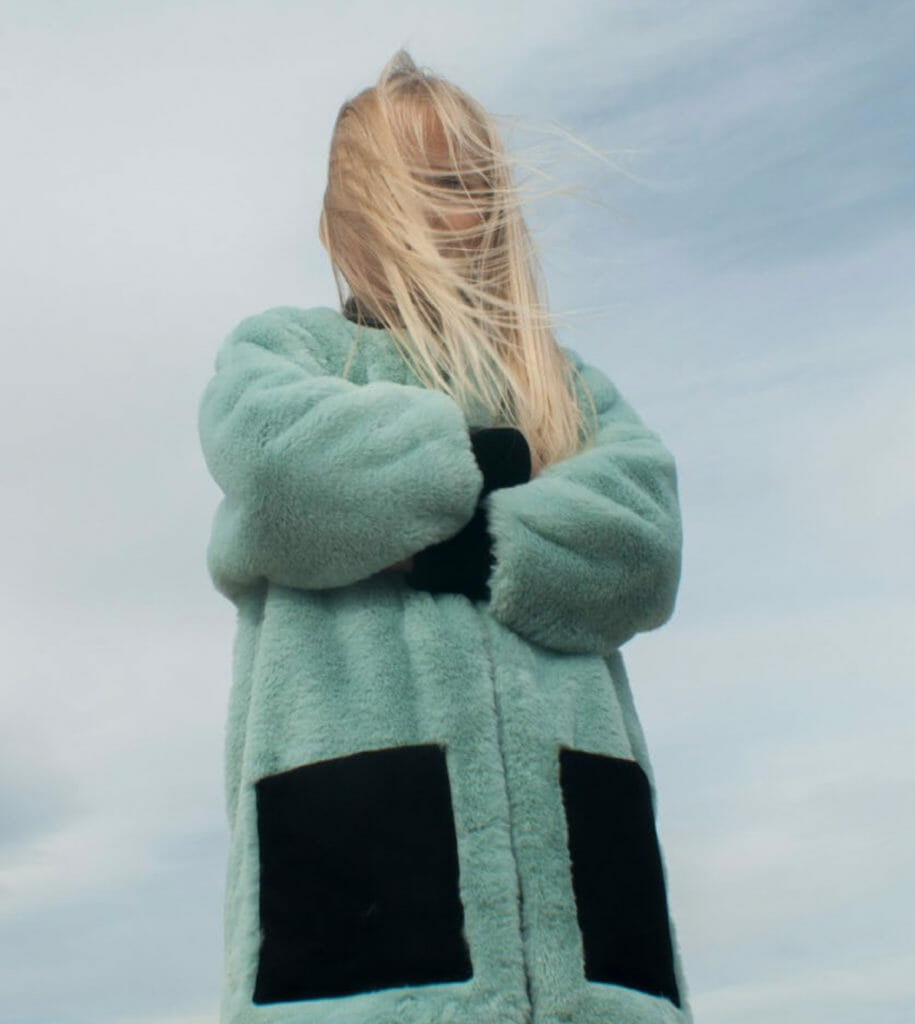 Aqua blue faux fur appears for all age groups at Popelin