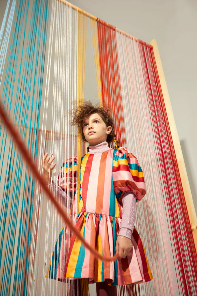 Bold vivd colour stripes from The Middle Daughter for FW2020 kids fashion