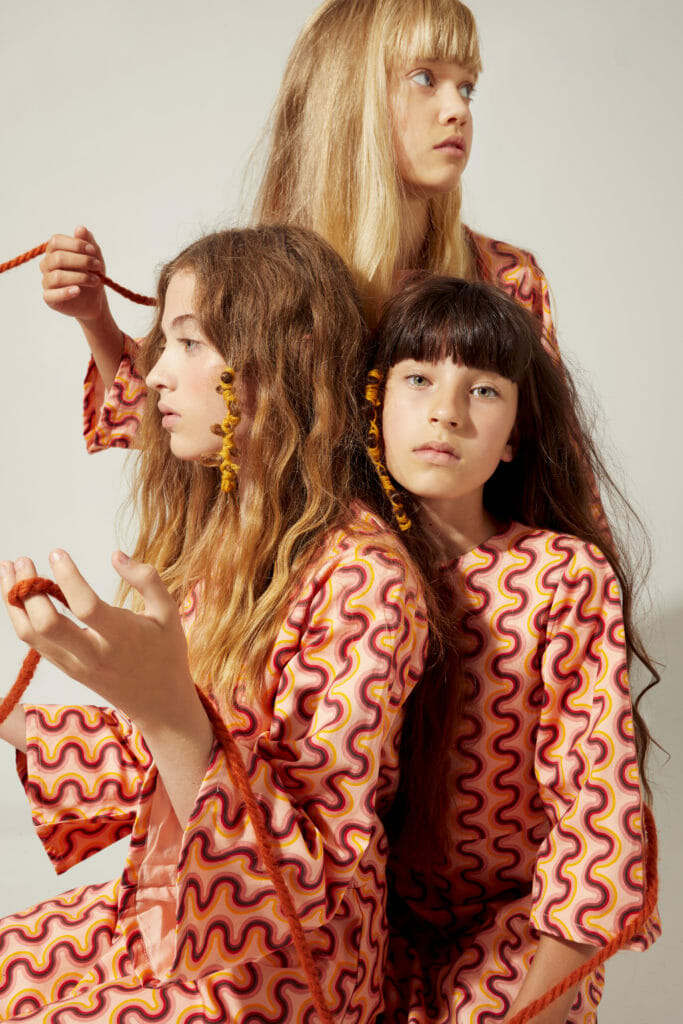 Distinctive bold prints are a signature of The Middle Daughter's kids fashion style
