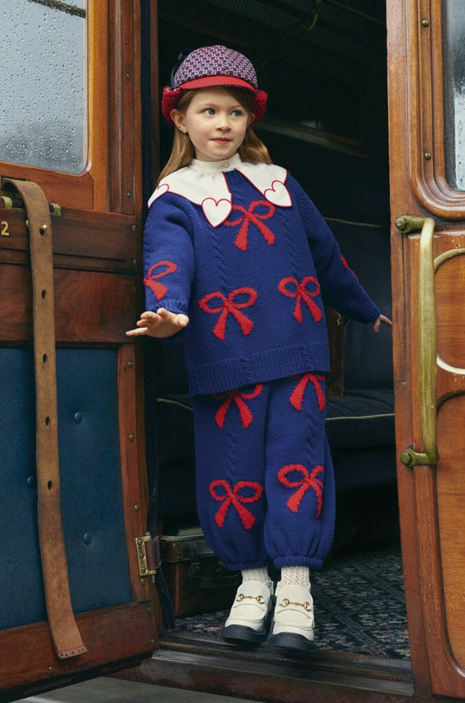 Giant bows and hearts decorate a cosy two piece set at Gucci girlswear