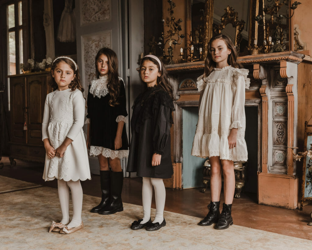 Softly styled kids party dresses at Petite Amalie for FW20.