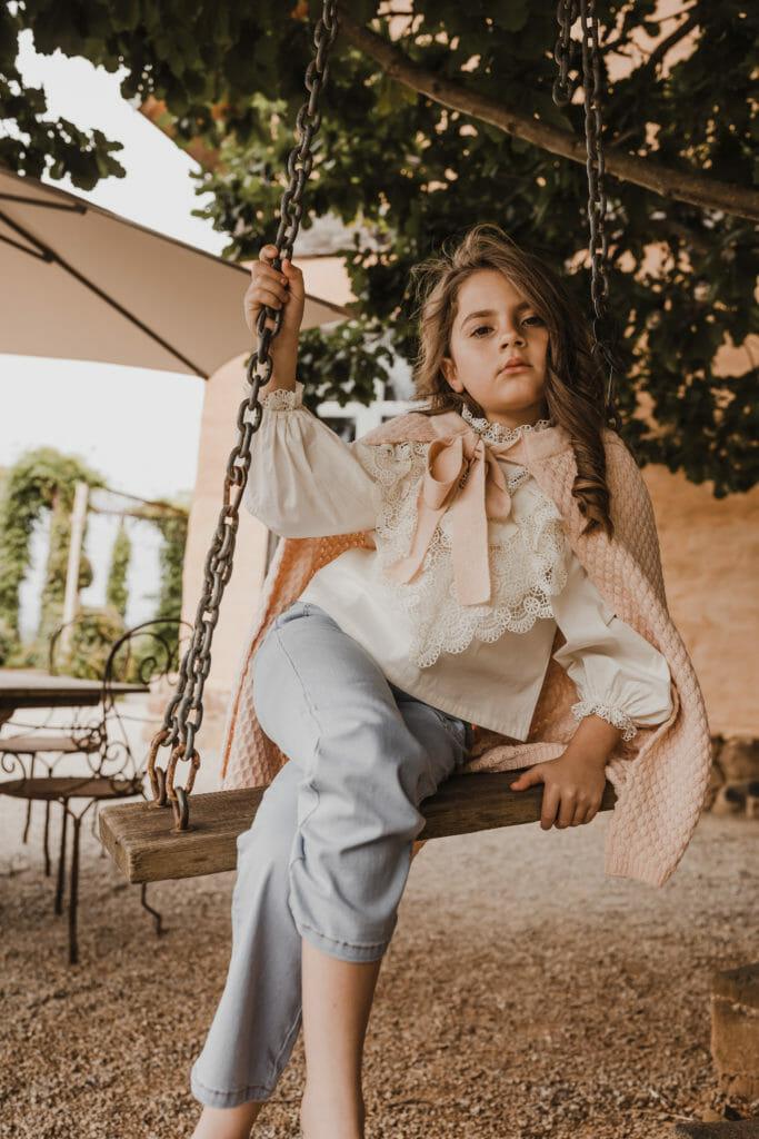 Beautiful antique blouse at Petite Amalie FW20 girlswear