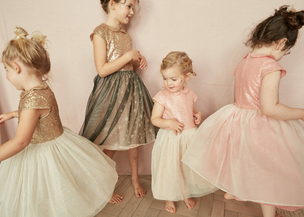 New kids fashion brand Strawberries and Cream sequin and tulle occasion dresses