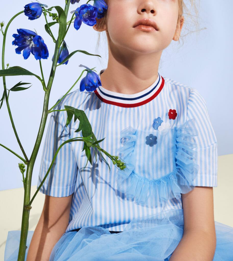 Tulle decorates spring girls fashion at Italian brand Simonetta