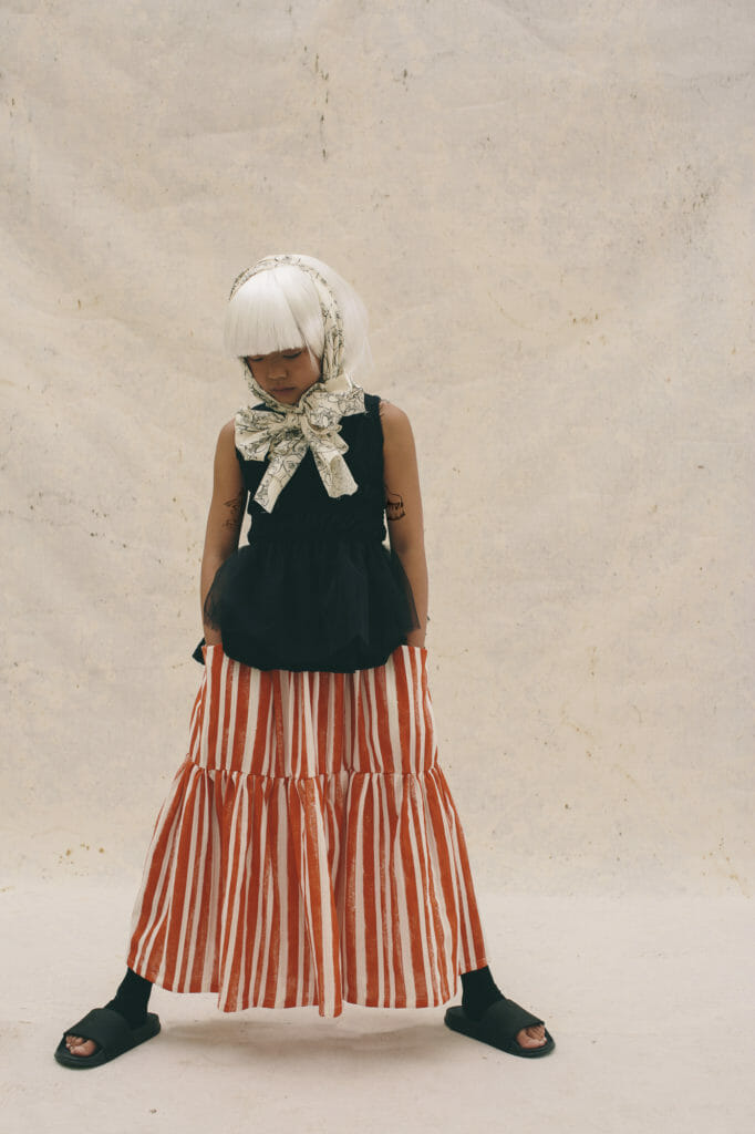 Little Creative Factory SS21 features monochrome tones with a red striped accent