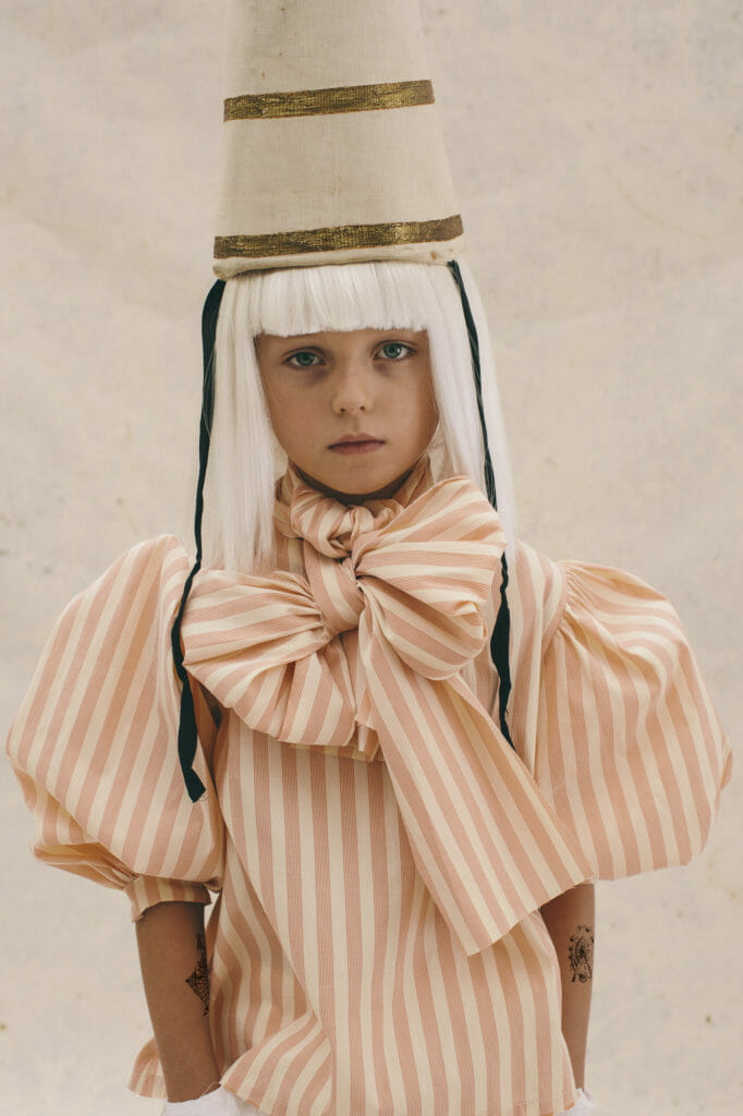 Wonderful Edwardian style bow tie puff sleeve blouse at Little Creative Factory for SS21
