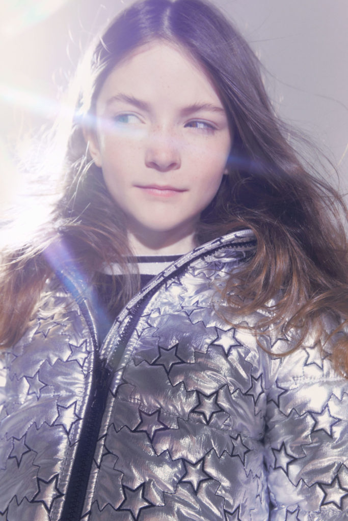 Metallic quilt jacket with star motif at Simonetta FW2021